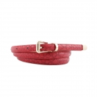 FSA001 Faux Leather Solid Color Belt, Red